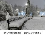 heavy snowfall in moscow. night ... | Shutterstock . vector #1043394553