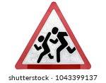 old wet road sign 'children... | Shutterstock . vector #1043399137