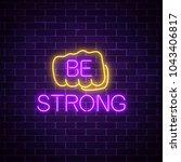glowing neon sign of human fist ... | Shutterstock .eps vector #1043406817