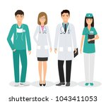 group of four medical people... | Shutterstock .eps vector #1043411053