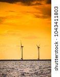 wind turbines generator farm... | Shutterstock . vector #1043411803