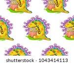 cool dino doodle vector... | Shutterstock .eps vector #1043414113