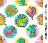 cool dino doodle vector... | Shutterstock .eps vector #1043414587