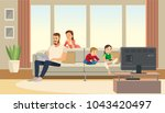 family at home. mother care... | Shutterstock .eps vector #1043420497