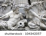 Detail of Pallas-Athene fountain in front of Austrian parliament, Vienna, Austria. Sculptures represent rivers Danube and Inn - stock photo