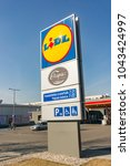 Small photo of Poznan, Poland - March 11, 2018: Lidl supermarket board with new opening times excluding sunday. It is the first day after introducing the new law of closed sundays