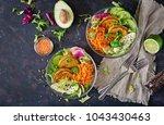 vegan buddha bowl dinner food... | Shutterstock . vector #1043430463