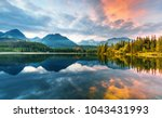 mountain lake strbske pleso ... | Shutterstock . vector #1043431993