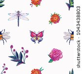 embroidery dragonfly  tropical... | Shutterstock .eps vector #1043438803