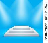 square podium illuminated by... | Shutterstock .eps vector #1043443567