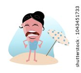 clipart of a woman with sunburn | Shutterstock .eps vector #1043451733