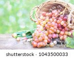 fresh colorful red grapes in... | Shutterstock . vector #1043500033