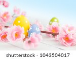 easter eggs on a wooden table | Shutterstock . vector #1043504017