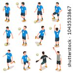 set of isometric soccer players ...
