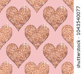 seamless pattern with rose gold ... | Shutterstock . vector #1043540077