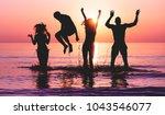 happy friends jumping inside... | Shutterstock . vector #1043546077