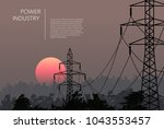 transmission towers landscape... | Shutterstock .eps vector #1043553457