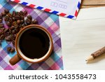 black coffee and notepaper and... | Shutterstock . vector #1043558473