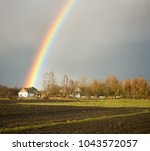 amazing spring landscape with...   Shutterstock . vector #1043572057