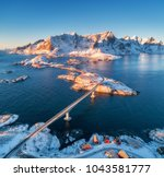 aerial view of reine and hamnoy ... | Shutterstock . vector #1043581777