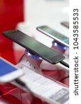new black mobile smartphone... | Shutterstock . vector #1043585533