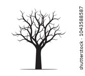 black tree without leaves.... | Shutterstock .eps vector #1043588587