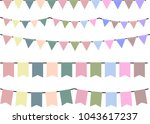 pale colored garland set | Shutterstock .eps vector #1043617237