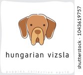 hungarian vizsla   dog breed... | Shutterstock .eps vector #1043619757