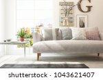 idea of white minimalist room... | Shutterstock . vector #1043621407