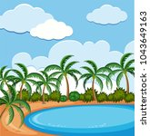 background scene with coconut... | Shutterstock .eps vector #1043649163
