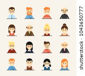 various smiling cartoon faces ... | Shutterstock . vector #1043650777