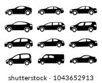 set of twelve black car... | Shutterstock .eps vector #1043652913