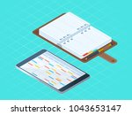 flat isometric illustration... | Shutterstock .eps vector #1043653147