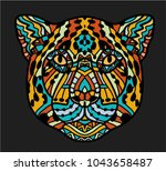 patterned head of jaguar. adult ... | Shutterstock .eps vector #1043658487