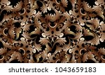 baroque intricate gold 3d... | Shutterstock .eps vector #1043659183