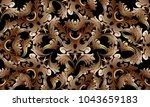 baroque intricate gold 3d... | Shutterstock .eps vector #1043659183