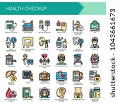 health checkup   thin line and... | Shutterstock .eps vector #1043661673
