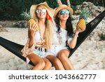 two cute beautiful girls in... | Shutterstock . vector #1043662777