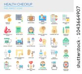 health checkup   thin line and... | Shutterstock .eps vector #1043664907