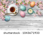 easter holiday background with... | Shutterstock .eps vector #1043671933