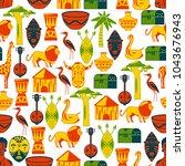 seamless african pattern.... | Shutterstock .eps vector #1043676943