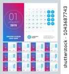 esk calendar for 2019 year. set ... | Shutterstock .eps vector #1043687743