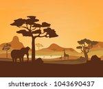 cartoon african savannah card... | Shutterstock .eps vector #1043690437