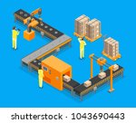 automated factory conveyor ... | Shutterstock .eps vector #1043690443