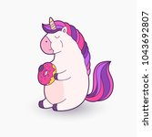 cute cartoon unicorn. vector... | Shutterstock .eps vector #1043692807