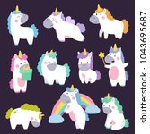 Stock vector cute unicorn set hand drawn cartoon vector illustration design for cards posters t shirts 1043695687