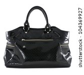 black leather handbag on white...