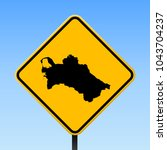 turkmenistan map road sign.... | Shutterstock .eps vector #1043704237