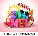 summer 3d text vector banner... | Shutterstock .eps vector #1043709223