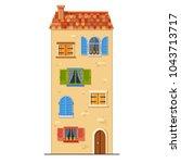 cute high vector yellow house... | Shutterstock .eps vector #1043713717